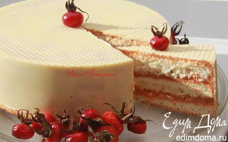 Рецепт Белый торт с шиповниковым кердом