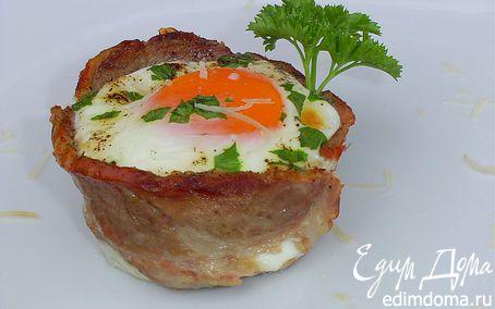 Рецепт Корзинки из ветчины, пармезана и яиц
