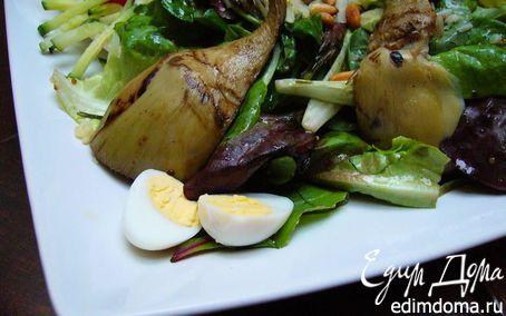 Рецепт Теплый салат с артишоками-гриль, перепелиными яйцами и кедровыми орешками