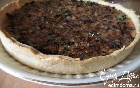 Рецепт Киш с домашним плавленым сыром и грибами