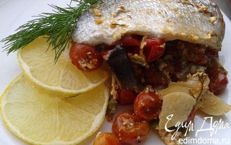 Рецепт Дорада на овощной подушке из черри, сладкого перца и творога
