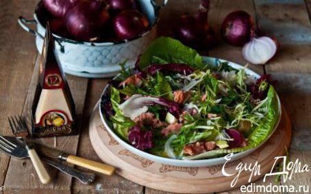 Рецепт Салат из копченой рыбы с авокадо, красным луком и сыром