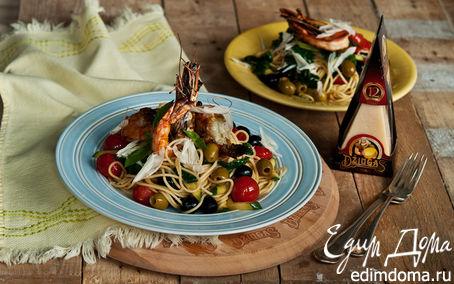 Рецепт Спагетти с креветками, цукини, помидорами и сыром