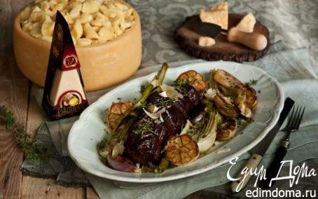 Рецепт Ростбиф, томленный в красном вине с овощами и сыром