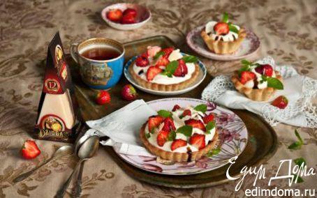 Рецепт Тартинки с клубникой в сырно-сливочном креме