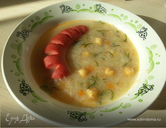 Нутовый суп с запеченной сосиской