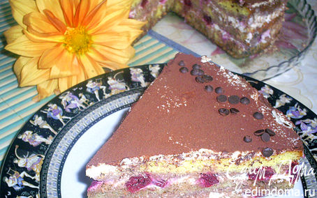 Рецепт Творожный торт-десерт с пьяными вишнями в стиле Тирамису