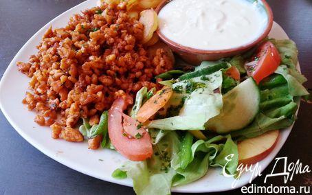 Рецепт Быстрый веганский обед с гюросом, жареной картошкой и соусом дзадзики