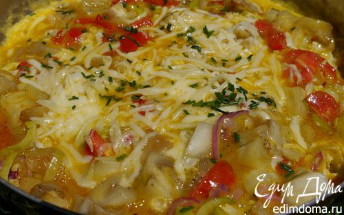 Рецепт Омлет с баклажанами, помидорами и луком