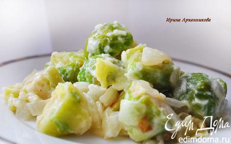 Рецепт Теплый салат с брюссельской капустой под соусом Бешамель
