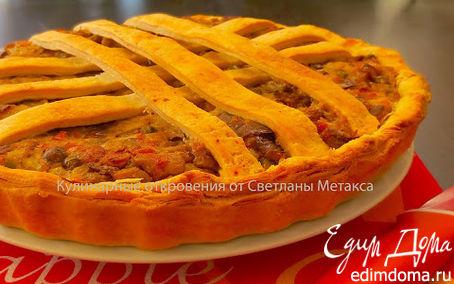 Рецепт Пирог из слоеного домашнего теста с овощной начинкой