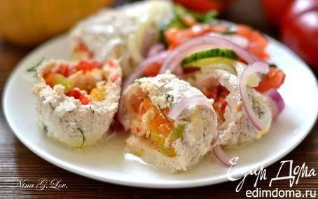 Рецепт Куриные крученики, фаршированные тыквой, разноцветным перчиком и сыром