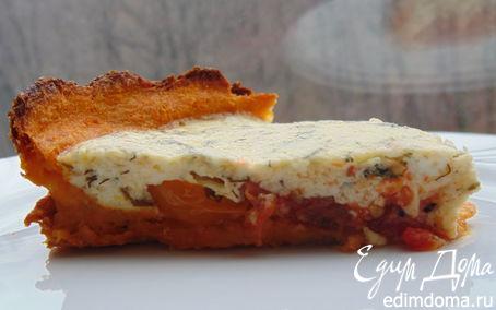 Рецепт Открытый пирог с томатами на тыквенно-морковном тесте