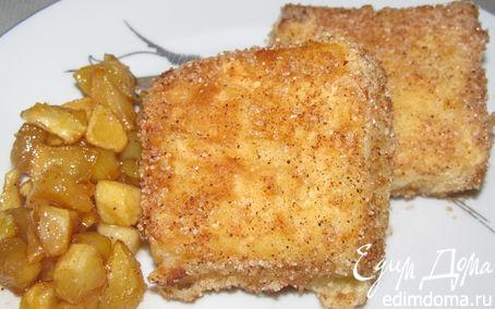 """Рецепт """"Жареное молоко"""" с карамелизированными яблоками.(Leche Frita)"""