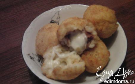 Рецепт рисовые шарики с сыром пармезан и ветчиной прошутто