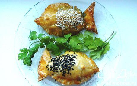 Рецепт Пирожки «Рыбки» с красной рыбой и шпинатом