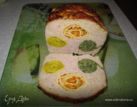 Хлебец из цыпленка, фаршированный блинами