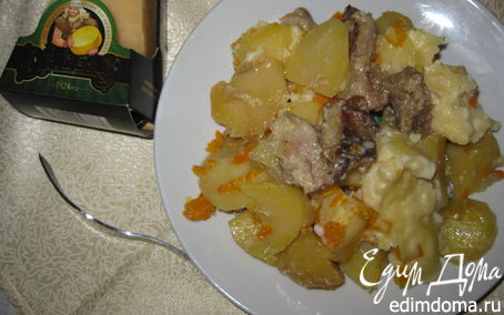 Рецепт Запеканка со свининой, овощами и сыром Джюгас