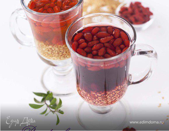 Льняной кисель с ягодами годжи