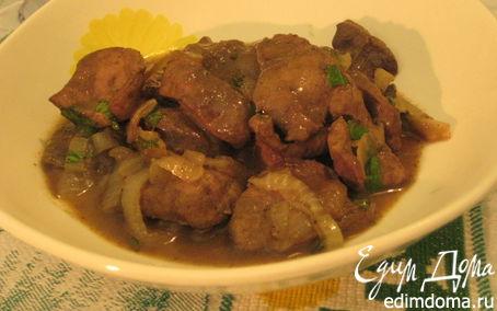 Рецепт Печень теленка с луком в кисло-сладком соусе
