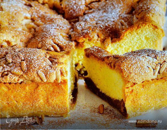 Двойной пирог с кремом со вкусом корицы