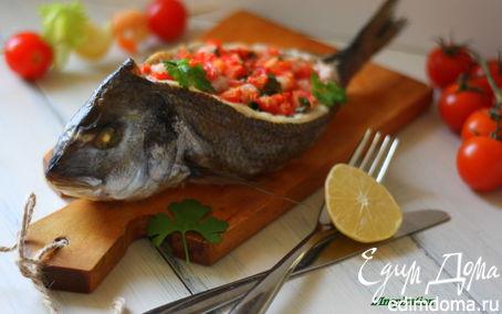 Рецепт Дорада, фаршированная креветками и томатами