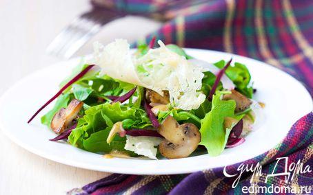 Рецепт Салат со свеклой, шампиньонами и сырными чипсами