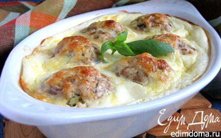 Рецепт Нежные куриные шарики, запеченные в сливочно-сырном соусе