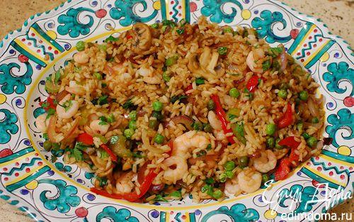 Рецепт Жареный китайский рис с креветками и сладким перцем