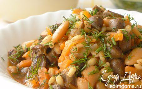 Рецепт Перловая крупа с куриными сердцами и фасолью