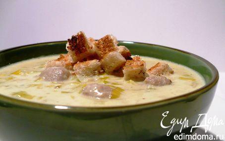 Рецепт Наваристый сырный суп из порея с фрикадельками и гренками