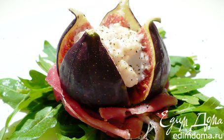 Рецепт Салат из инжира, мягкого сыра и пармской ветчины