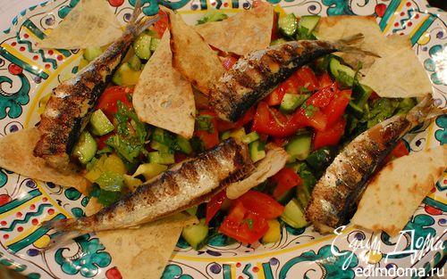 Рецепт Сардинки с легким салатом и чипсами из лаваша