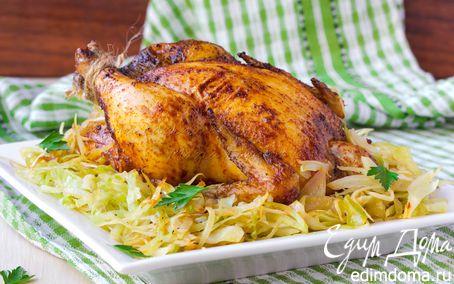 Рецепт Цыплята с паприкой и тушеной капустой