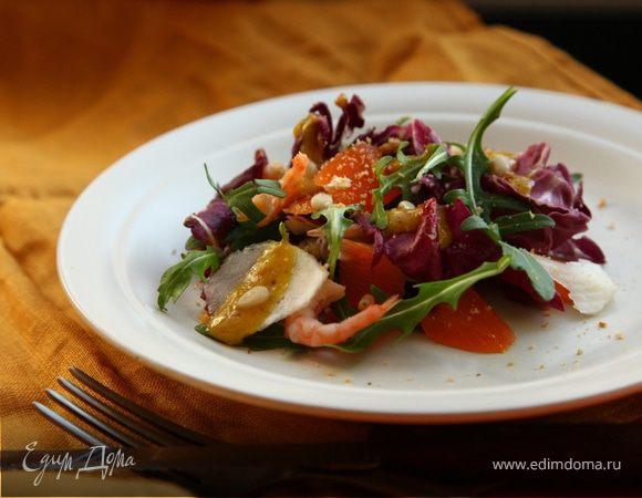 Салат с креветками и топинамбуром