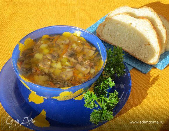 Суп грибной с мясным фаршем