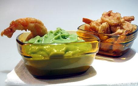 Рецепт Креветки в кляре с гуакамоле