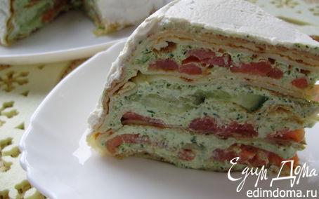 Рецепт Блинный торт из семги