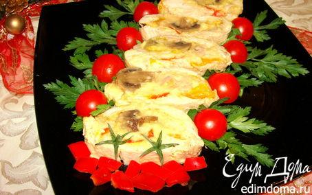 Рецепт Рулет из курицы с грибами, перцем и сыром
