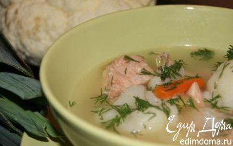 Рецепт Суп с горбушей, цветной капустой и луком-пореем