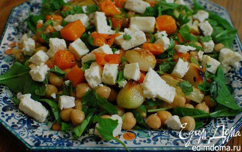 Рецепт Салат из нута с запеченными овощами и фетой