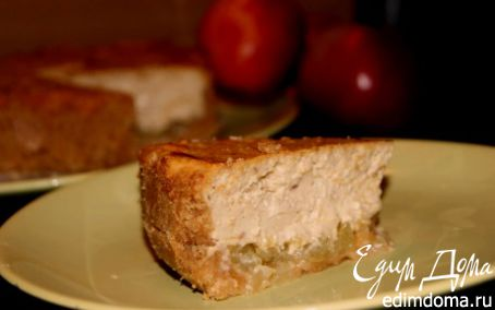 Рецепт Чизкейк с халвой и карамельными яблочками