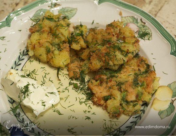 Биточки из семги с картофелем