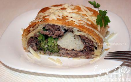 Рецепт Рулет с мясным фаршем и овощами