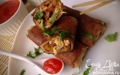 Рецепт Блинные спринг роллы с курицей и овощами
