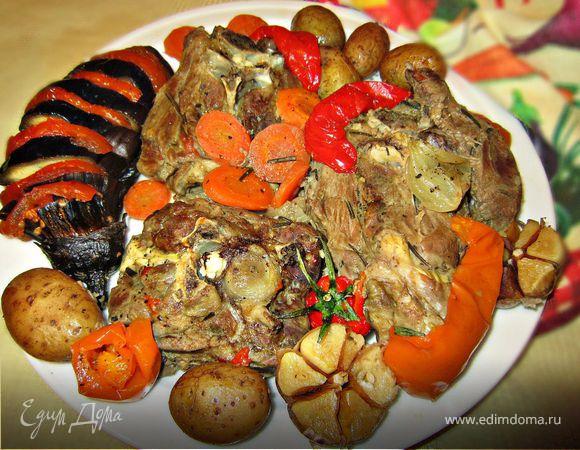 Шейка барашка, запеченная в рукаве с овощами