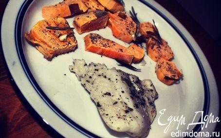 Рецепт Запеченное филе хека с бататом