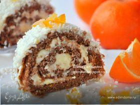 Шоколадный рулет с ванильно-апельсиновым пудингом и кокосом