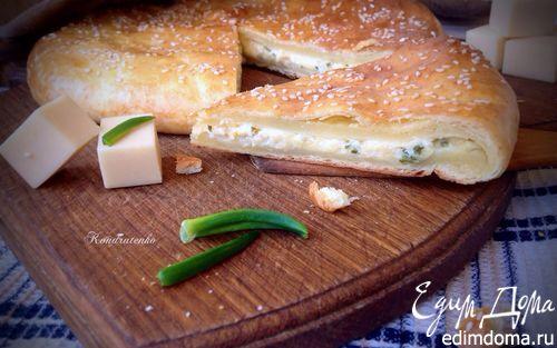 Рецепт Лепешка из творожного теста с сыром и зеленью