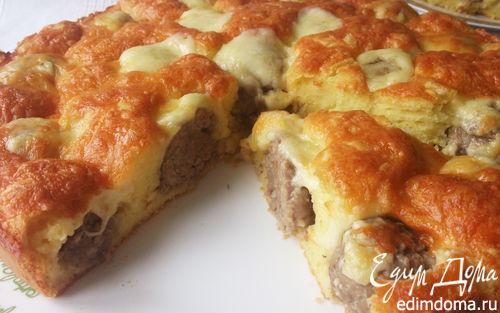 Рецепт Заливной пирог с фрикадельками